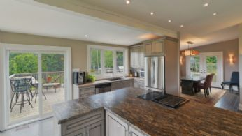 Kitchen Overlooking Dining Room - Country homes for sale and luxury real estate including horse farms and property in the Caledon and King City areas near Toronto