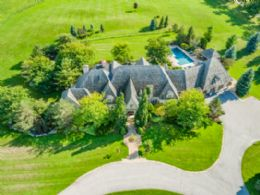Main House Aerial - Country homes for sale and luxury real estate including horse farms and property in the Caledon and King City areas near Toronto