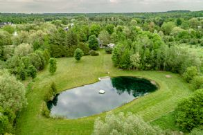 Aerial of Back Yard - Country homes for sale and luxury real estate including horse farms and property in the Caledon and King City areas near Toronto