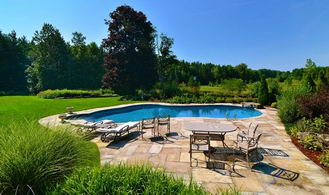 Poolside Patio - Country homes for sale and luxury real estate including horse farms and property in the Caledon and King City areas near Toronto