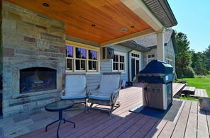Outdoor Fireplace and BBQ - Country homes for sale and luxury real estate including horse farms and property in the Caledon and King City areas near Toronto