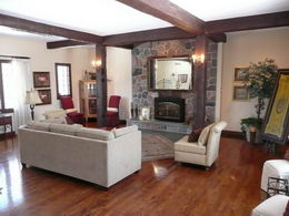 Living Room  - Living Room with fieldstone fireplace, oak floors & 2 picture windows - Country homes for sale and luxury real estate including horse farms and property in the Caledon and King City areas near Toronto